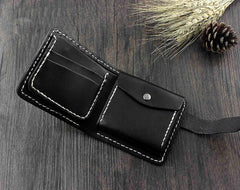 Handmade Black Leather Men's Small Biker Wallet Chain Wallet Short Wallet with Chain For Men