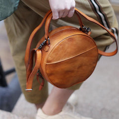 Leather Circle Bag Round Leather Crossbody Bag - Annie Jewel