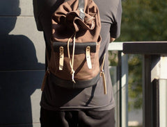 Handmade Canvas Mens Leather Bucket Backpack Travel Backpack Hiking Backpack for Men