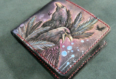 Handmade short leather wallet men Crow carved leather short wallet for men him