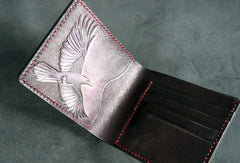 Handmade billfold leather wallet men Crow carved leather billfold wallet for men him