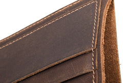 Handmade Genuine Leather Brown Mens Wallet Cool Short Slim Bifold Wallet for Mens