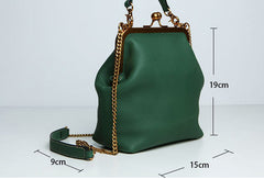 Handmade Genuine Leather Vintage Frame Kisslock Handbag Chain Crossbody Bag Shoulder Bag Women Leather Purse