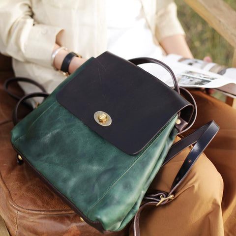 Green Womens Leather Satchel Backpack Small Vintage Green Leather Backpack Womens Purse