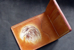 Handmade billfold leather wallet men indian Chief carved leather billfold wallet for men him
