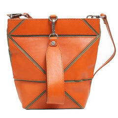 Cute Small Bucket Bag Clutch Brown Leather Bucket Bag - Annie Jewel
