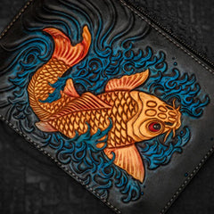 Handmade Leather Tibet Scriptures Tooled Wristlet Bag iPad Bag Mens Cool Leather Wallet Long Clutch for Men