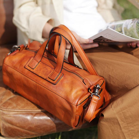 Fashion Soft Tan Womens Leather Handbag Brown Square Shoulder Bag Handbag Purse for Ladies