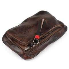 Vintage Leather Men's Zipper Small Wallet Coin Wallet Coin Holder for Men