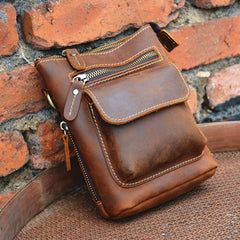 Vintage Brown Leather Men's Small Side Bag Belt Pouch Belt Bag Small Messenger Bag For Men