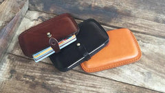 Handmade Leather Mens Card Wallet Front Pocket Wallets Small Wallets for Men