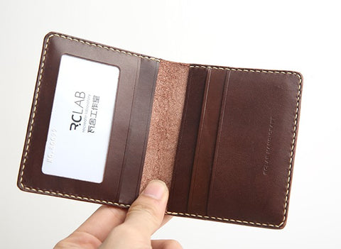 Handmade Leather Mens Slim License Wallet Front Pocket Wallet Slim Card Wallet for Men