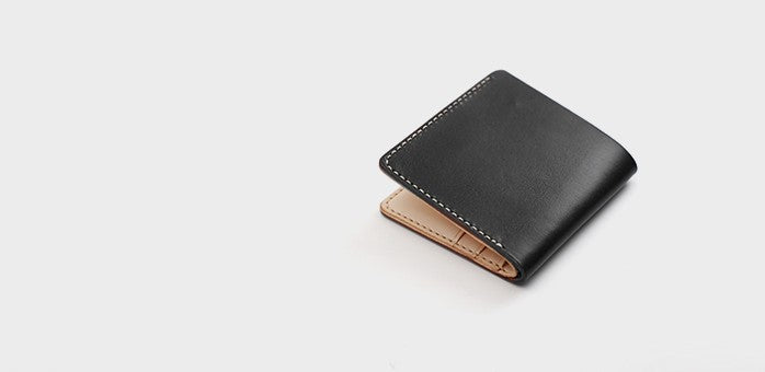 Handmade Leather Minimalist Black Red Womens Mens Bifold Small Wallet Short Wallets for Men