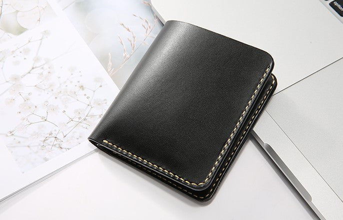 Handmade Leather Minimalist Womens Mens Bifold Small Wallet Short Wallets for Men