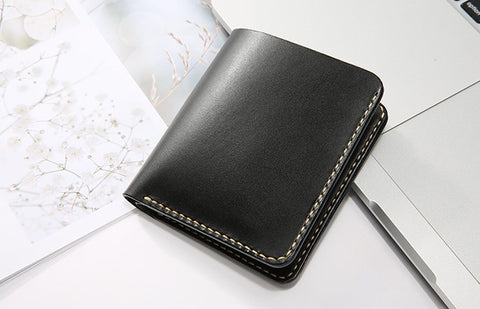 Handmade Leather Minimalist Womens Mens Bifold Small Wallet billfold Wallets for Men