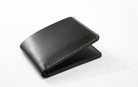 Handmade Leather Minimalist Womens Mens Bifold Small Wallets billfold Wallet for Men