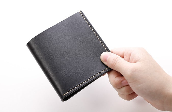 Handmade Leather Slim Black Red Womens Mens Bifold Small Wallet Short Wallets for Men