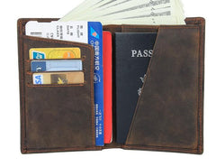 Vintage Mens Leather Small Slim Passport Wallets Bifold Long Wallet For Men