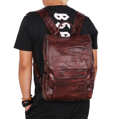 Handmade Cool Leather Men's Backpack Travel Backpack 14inch Computer Backpack For Men