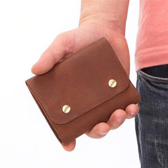 Vintage Brown Leather Men's Small Trifold Key Wallet Card Wallet Short Wallet For Men