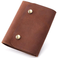 Vintage Brown Leather Men's Small Trifold Key Wallet Card Wallet billfold Wallet For Men