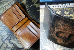 Handmade skull small leather wallet men tooled cool short wallet for him