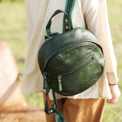 Green Vintage Womens Leather Small Satchel Backpack Brown Satchel Backpack for Women