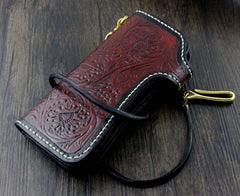Handmade Tooled Leather Men's Biker Wallet Motorcycle Wallet Long Wallet with Chain For Men