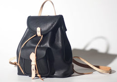 Handmade Women Leather Black Backpack Cute Backpack for Women