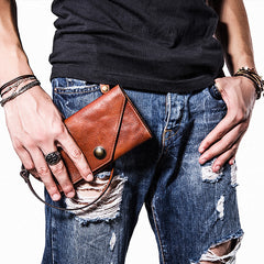 Handmade biker chain wallet leather chain wallet men Brown long wallet