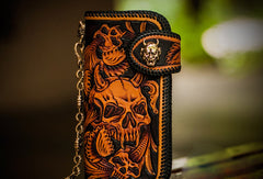 Handmade Skull leather biker trucker wallet leather chain men Brown Black Carved Tooled wallet