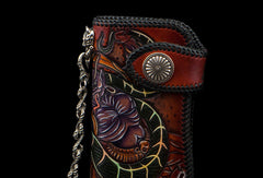 Handmade leather biker trucker wallet leather chain men Snake Brown Carved Tooled wallet