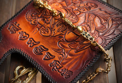 Handmade leather biker trucker wallet leather chain men Geneisha Brown Carved Tooled wallet