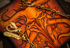 Handmade leather biker trucker wallet leather chain men devil Black Carved Tooled wallet