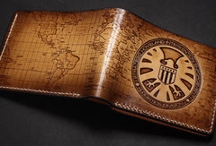 Handmade Agents of S.H.I.E.L.D. short wallet carved custom personalized leather for men