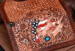 Handmade leather American horses biker trucker eagle wallet leather chain men Black Tooled wallet