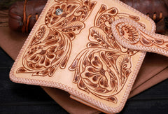 Handmade leather beige floral biker trucker flowers wallet leather chain men Black Tooled wallet