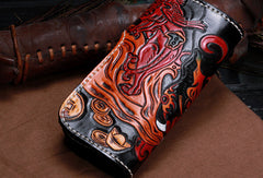 Handmade leather biker chain wallet Chinese monster wallet leather chain men Tooled wallet