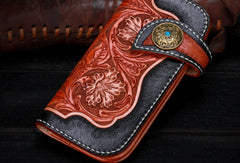 Handmade leather Long black floral biker trucker flowers wallet leather chain men Black Tooled wallet