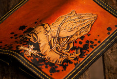 Handmade leather long tooled wallet Brown Buddha prayer men clutch wallet