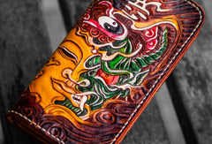 Handmade leather long tooled wallet Brown Buddha devil men clutch wallet