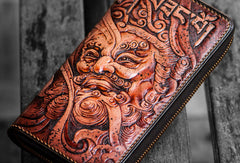 Handmade leather Sea God biker wallet clutch zip long wallet brown leather men Tooled