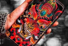 Handmade leather Chinese Monster biker wallet clutch zip long wallet black leather men phone