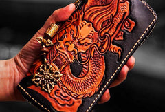 Handmade leather Chinese Dragon biker wallet clutch zip long wallet black leather men phone