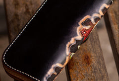 Handmade leather long tooled wallet black Thor men Carved Tooled wallet