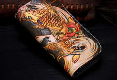 Handmade leather biker trucker Chinese carp wallet leather chain men Black Tooled wallet