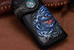 Handmade leather biker trucker Chinese Dragon wallet leather chain men Black Tooled wallet