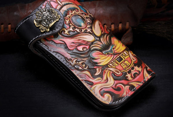 Handmade leather biker trucker Chinese monster wallet leather chain men Black Tooled wallet