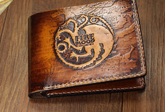 Handmade Game-of-Thrones carved leather custom billfold wallet for men gamers