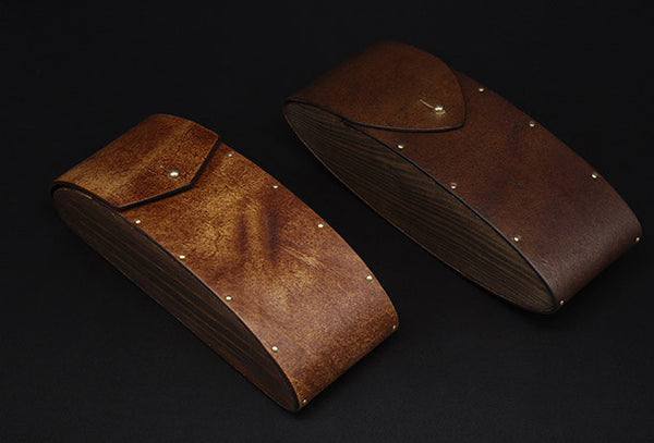 Handmade Vintage leather glasses case  wood glasses box,handmade retro glasses box,eyeglass case